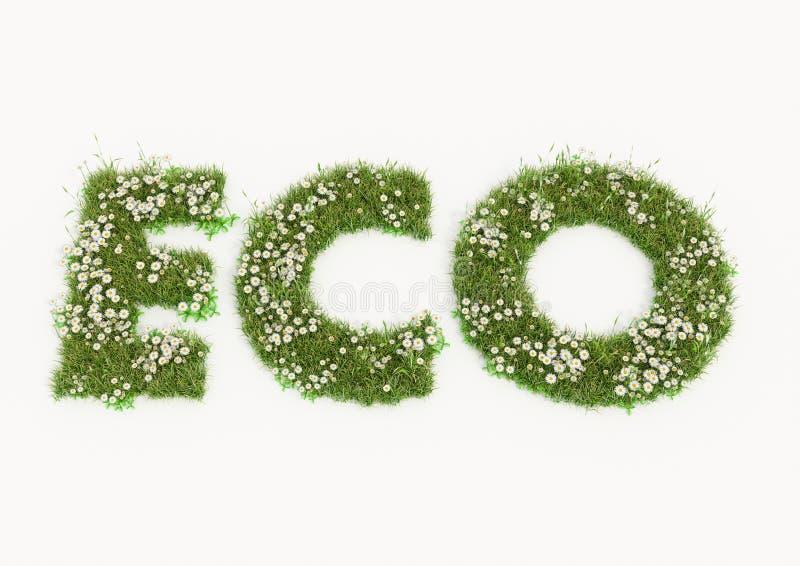 花和草键入的Eco词 皇族释放例证