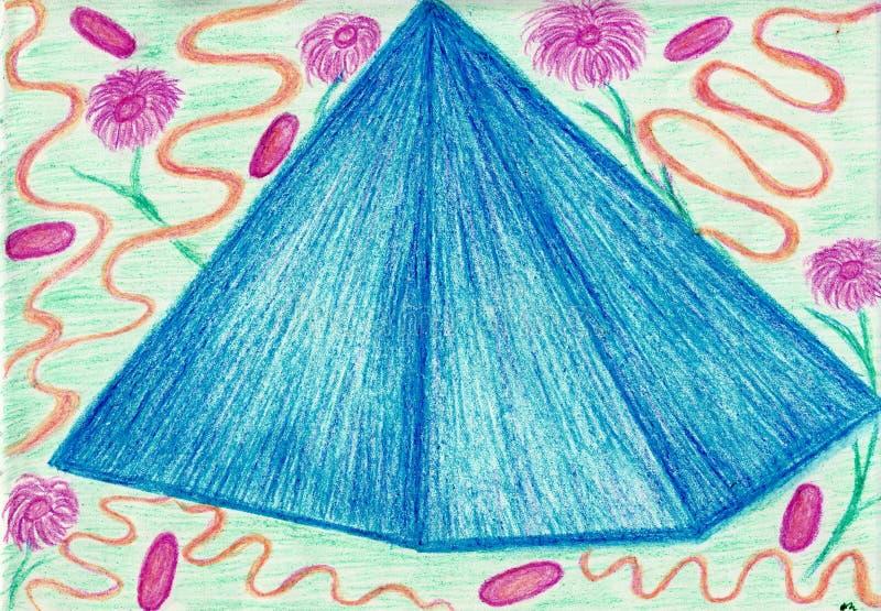 花和蓝色水晶 免版税库存图片