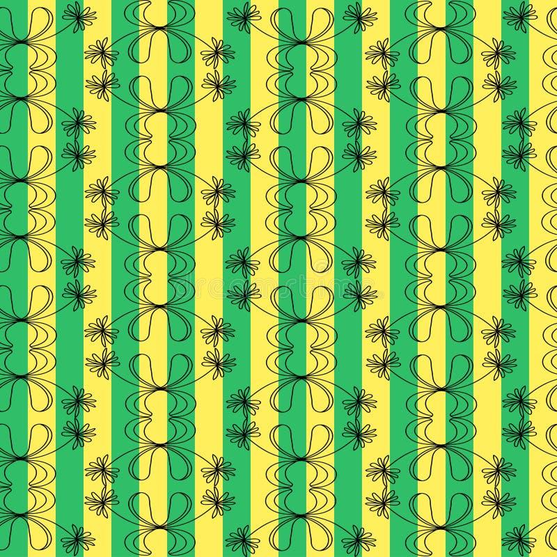 花和装饰品在背景与浅绿色和黄色条纹 皇族释放例证