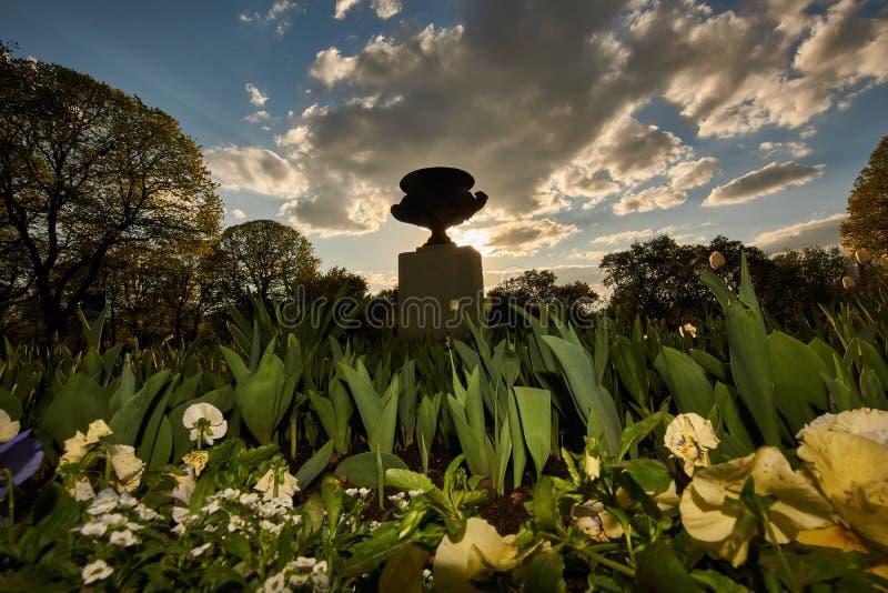 花和雕塑在日落的城市公园 免版税库存照片