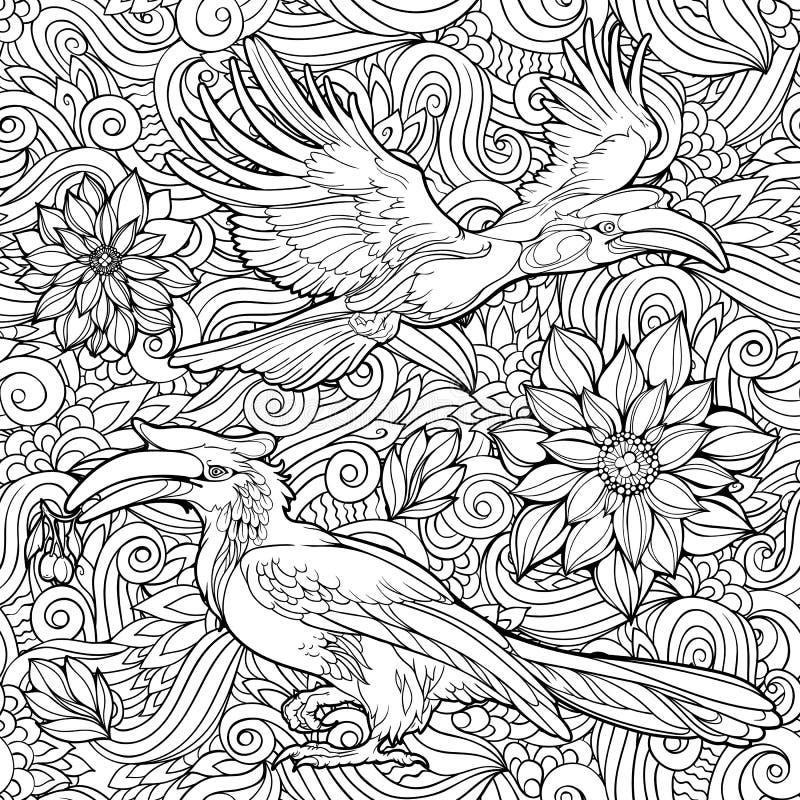 花和鹦鹉的无缝的样式 皇族释放例证