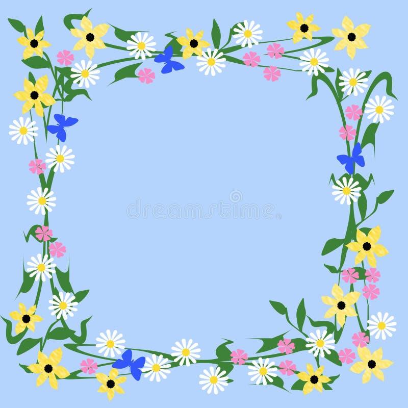 花和蝴蝶框架 皇族释放例证