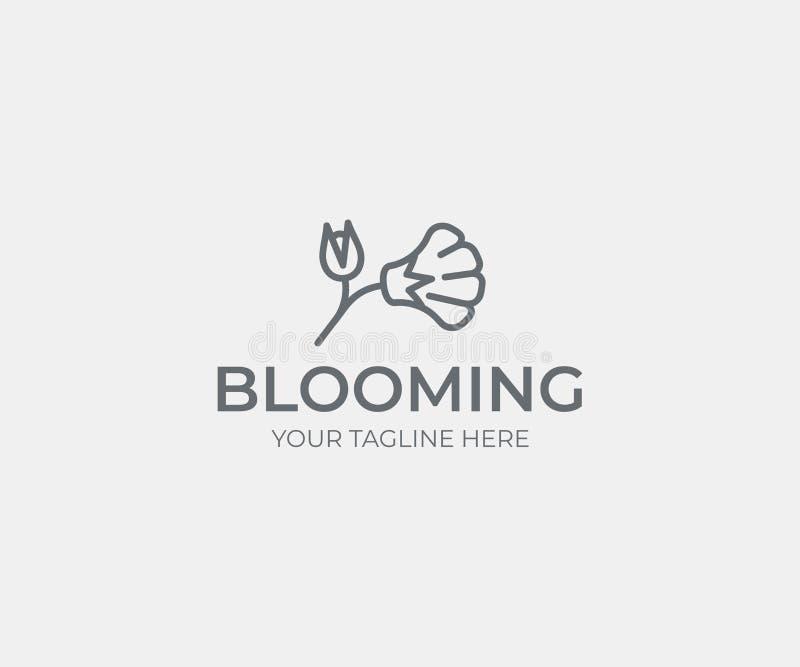 花商标模板 与花蕾传染媒介设计的抽象花 皇族释放例证