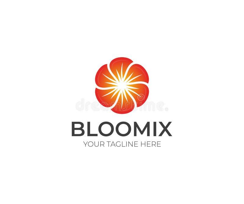 花商标模板 花卉五颜六色的传染媒介设计 向量例证