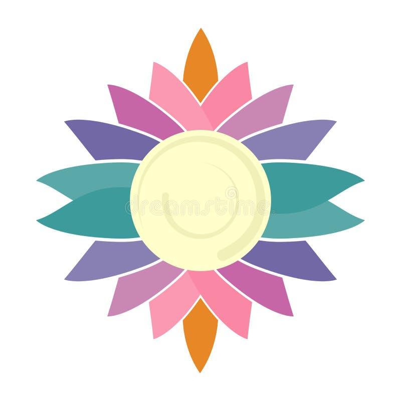 花商标 商标放松产业、medititation、瑜伽和体育 库存照片