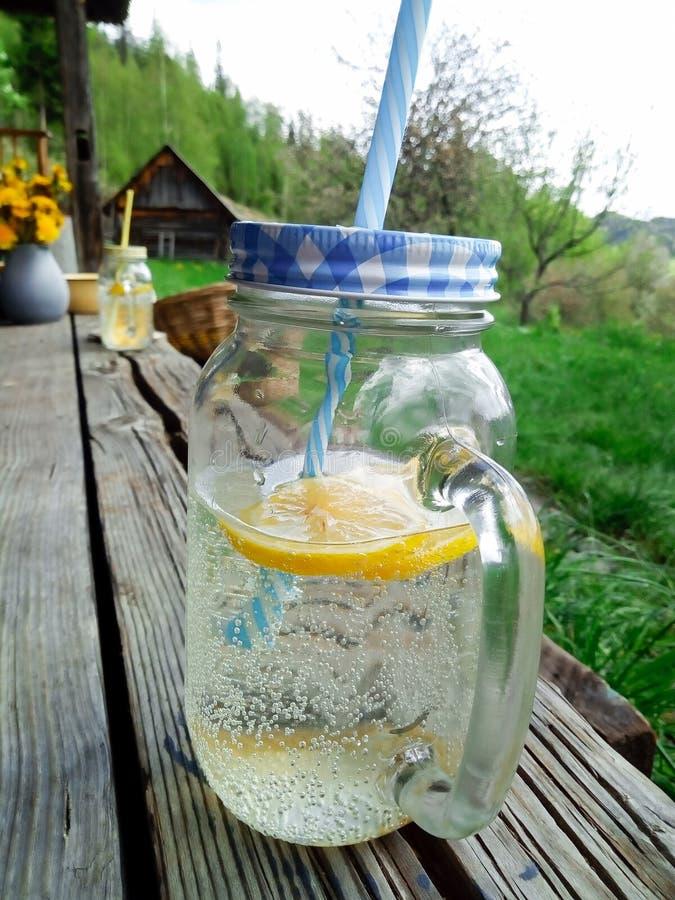 花园内清爽的自制柠檬饮料 免版税库存图片
