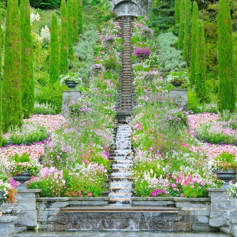 花园和其他植物、楼梯和瀑布 库存照片