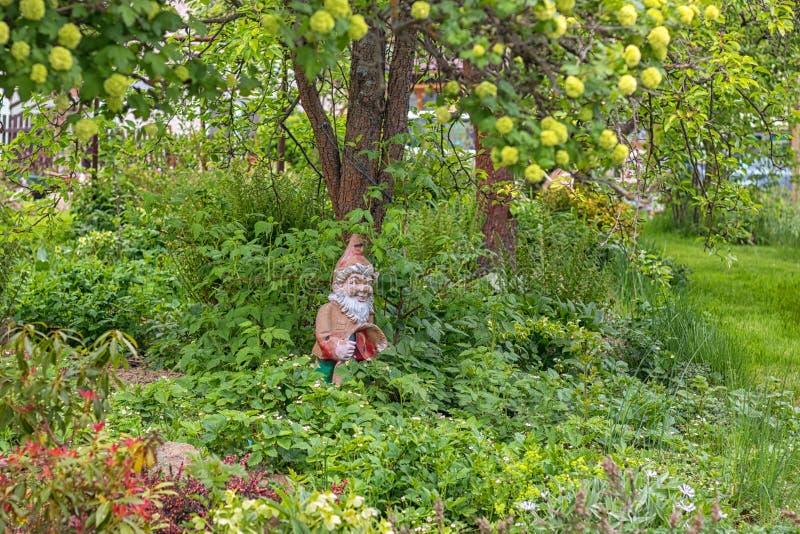 花园里的灰泥矮人,在树下 免版税图库摄影
