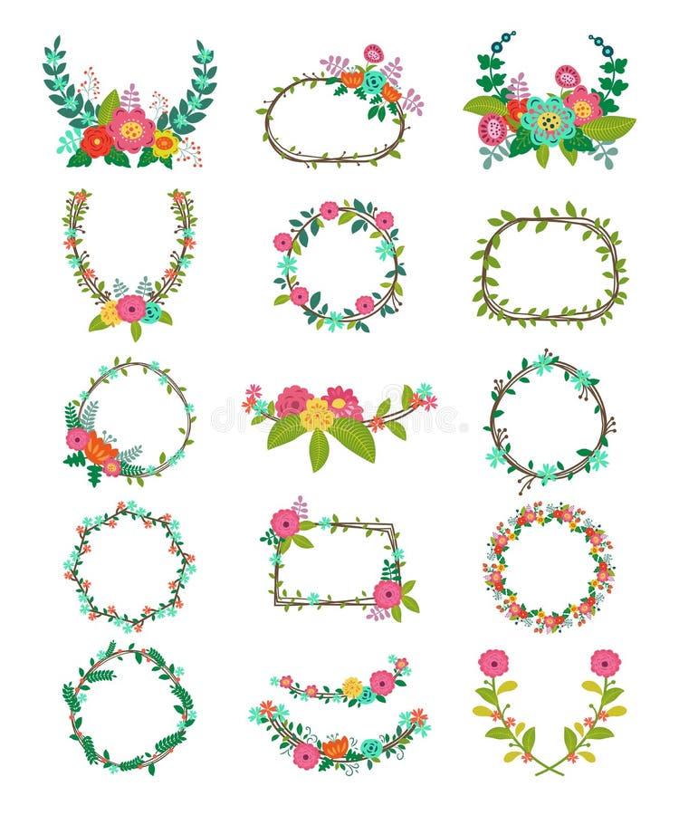 花圈传染媒介缠绕的装饰或缠绕的花和花卉装饰开花了框架与wreathen叶子为 皇族释放例证