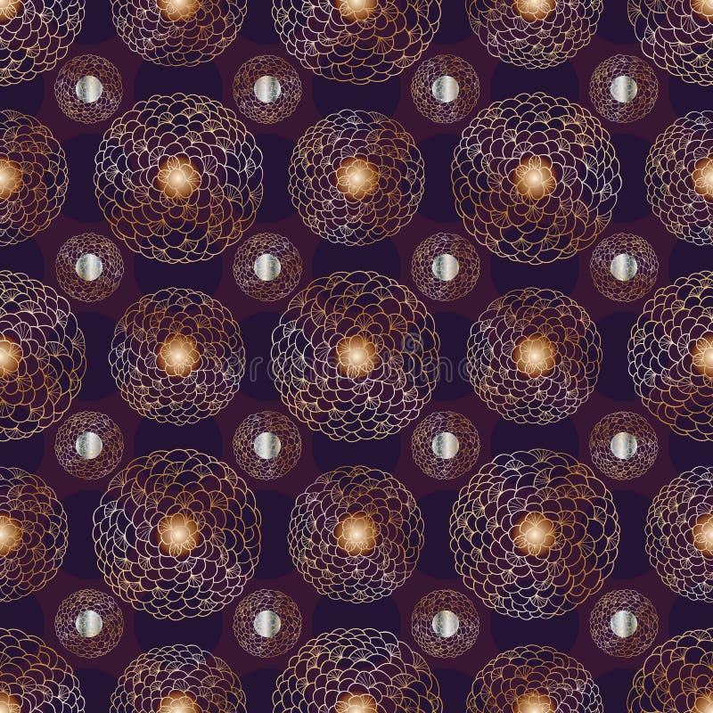 花圈子对称葡萄酒无缝的样式 皇族释放例证