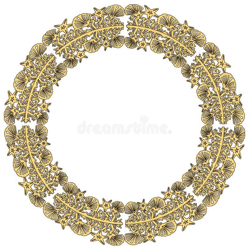 花圈海在白色背景patternisolated的壳星 婚姻的海滩样式请帖礼物 激光裁减样式 海sta 免版税库存图片
