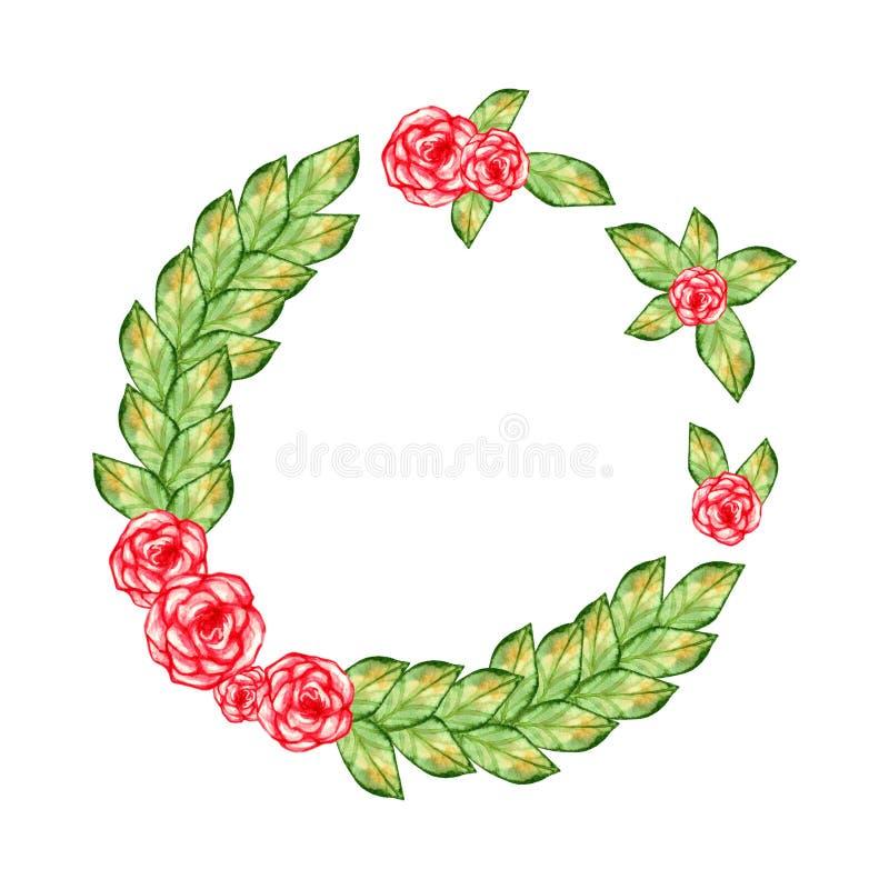 花圈由黄色和绿色秋叶夏天和逗人喜爱的桃红色美丽的玫瑰水彩制成绘了对象装饰集合isola 向量例证