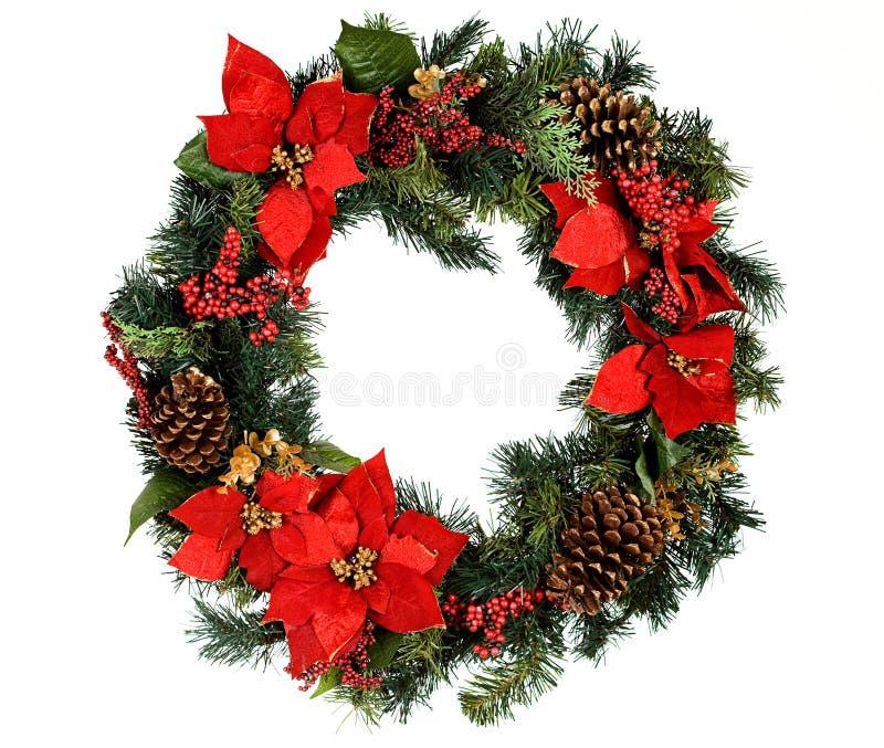 花圈:没有雪的圣诞节花圈 库存照片
