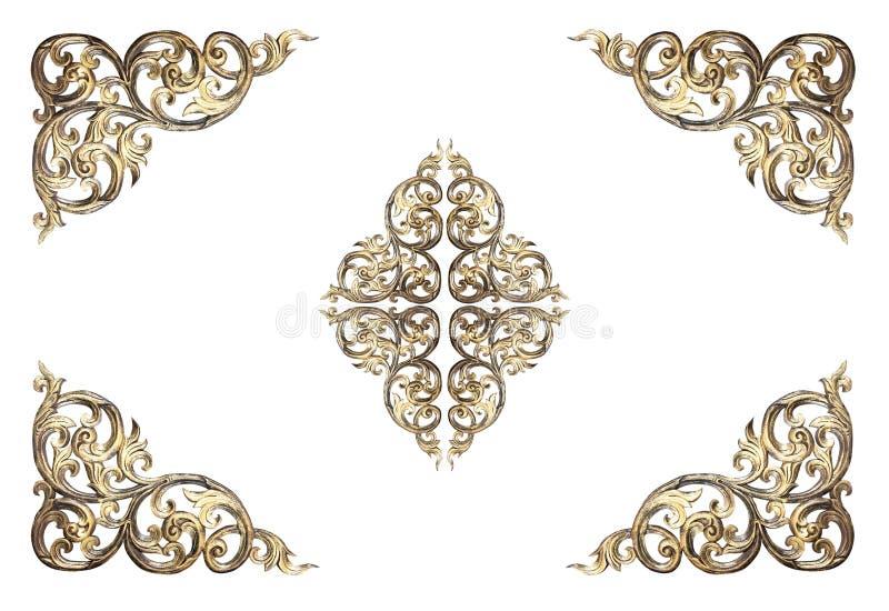 花在白色的被雕刻的框架的样式 图库摄影