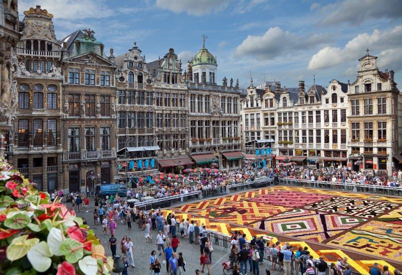 花地毯在布鲁塞尔布鲁塞尔大广场  免版税库存图片
