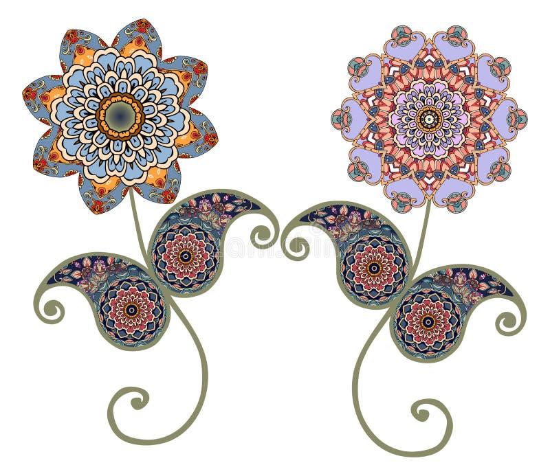 花坛场 佩兹利 装饰要素葡萄酒 东方模式 向量例证
