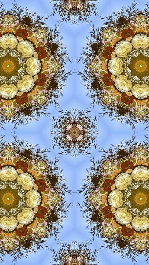 花垂直的四相同显示在圆安排的在婚礼在加利福尼亚 免版税图库摄影