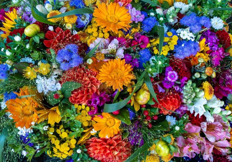 花多彩多姿的花束在春天或夏天 全框架背景 纹理样式 免版税图库摄影