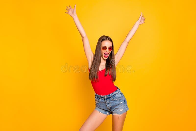 花姑娘官员天周末假期豪华的时髦照片叫喊欲死欲仙的手培养了穿戴specs牛仔裤牛仔布 库存图片