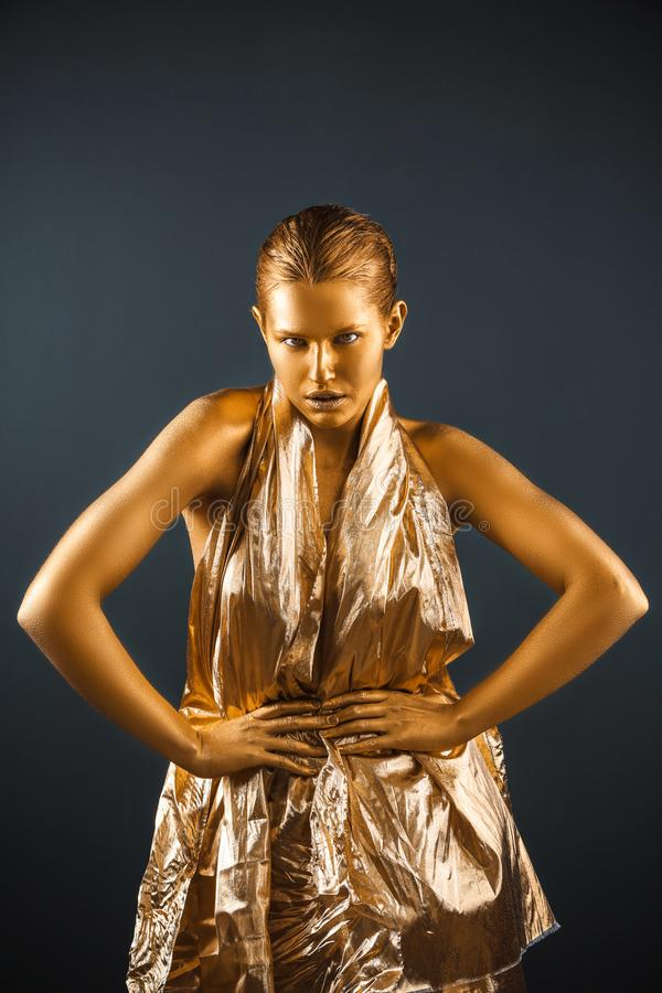 花姑娘画象有金油漆的在皮肤 免版税图库摄影