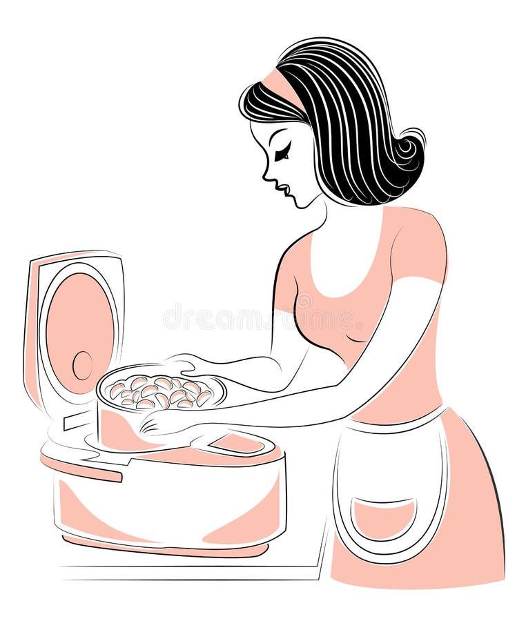 花姑娘的档案 女孩食物为多烹饪器材做准备 妇女是一位好主妇和厨师 ?? 皇族释放例证