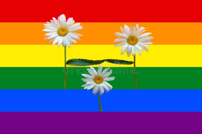 花家庭-爸爸、妈妈和孩子 父母和孩子 o 孩子的收养的概念由同性的 免版税库存图片