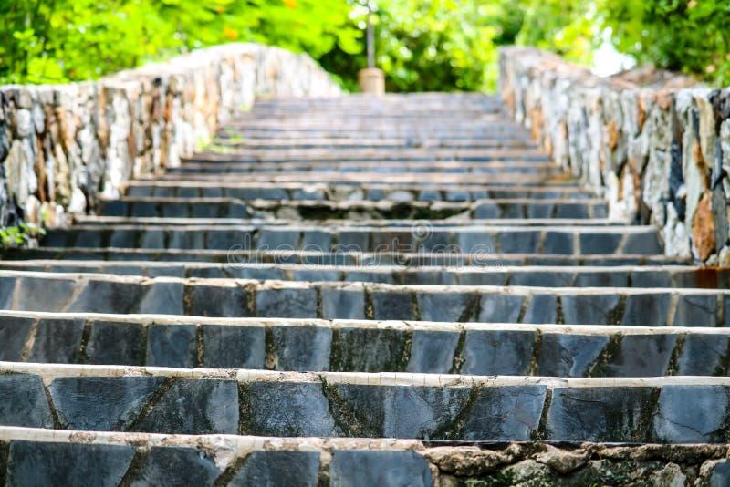 花岗岩台阶和石墙在庭院和绿色植物中 库存照片