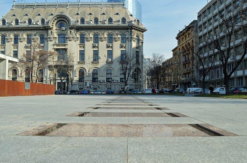 花岗岩在浩劫纪念品,布加勒斯特的火车轨道,罗马 图库摄影