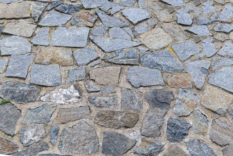 花岗岩石头老方形的破旧的鹅卵石灰色样式背景基地设计 免版税库存照片