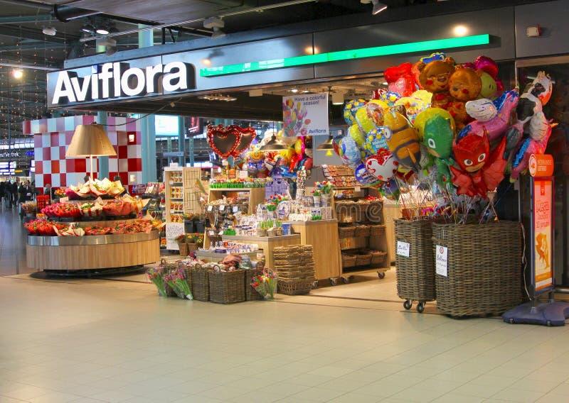 花店纪念品斯希普霍尔广场商城,斯希普霍尔机场,荷兰 免版税库存照片