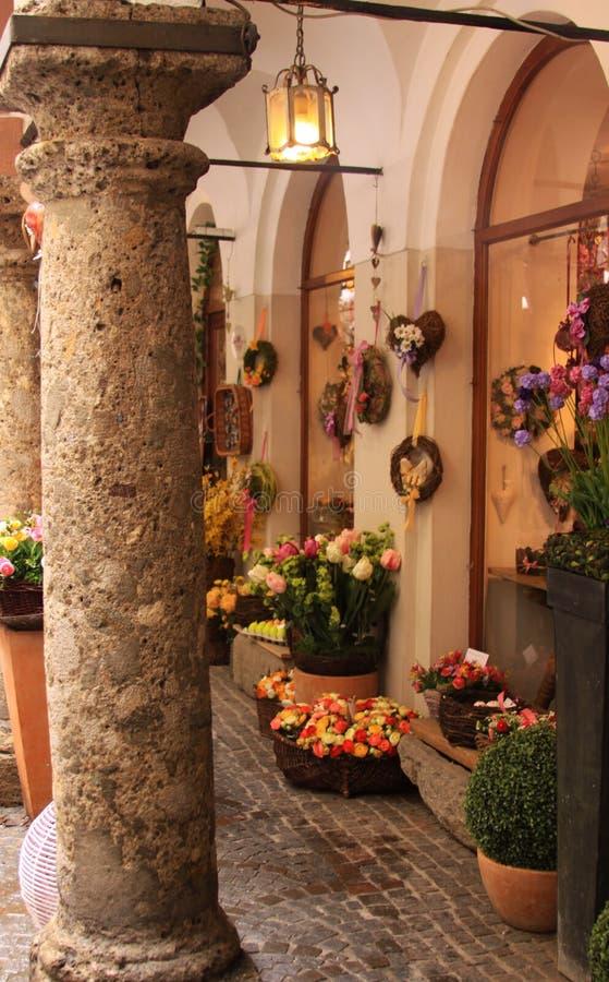 花店角落在萨尔茨堡 库存照片