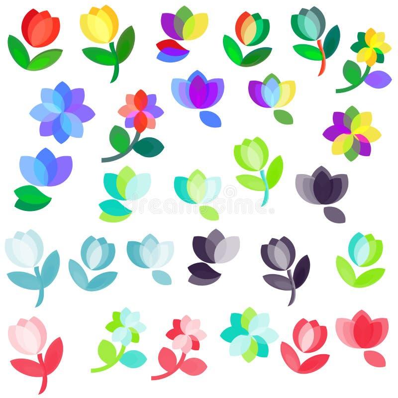 花徽标集 向量例证