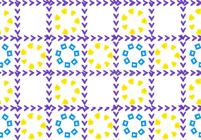 花抽象背景在笼子的 从正方形和心脏形状的瓣  栅格是检查号 皇族释放例证