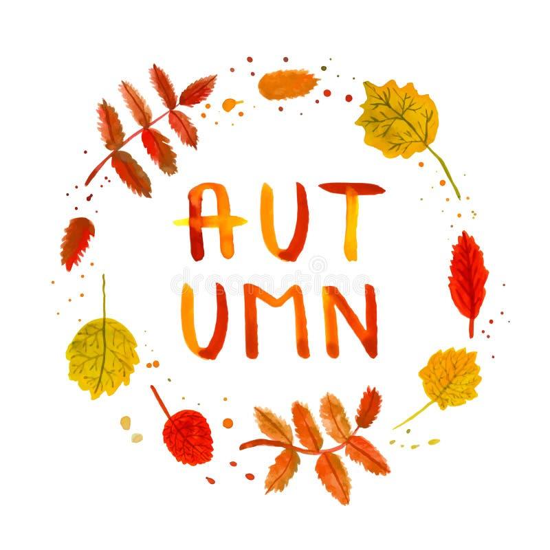 花揪和桦树叶子葡萄酒水彩手拉的背景和卡片与手写的秋天发短信给传染媒介 向量例证