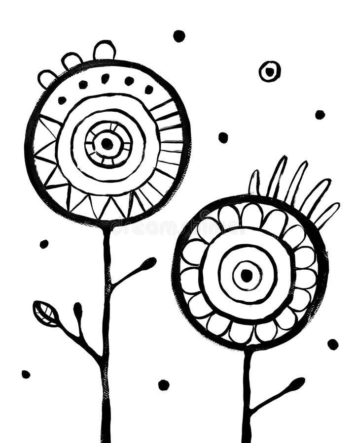 花摘要Backround 在白色的黑手拉的图片 皇族释放例证