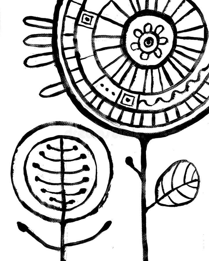 花摘要Backround 在白色的黑手拉的图片 库存例证