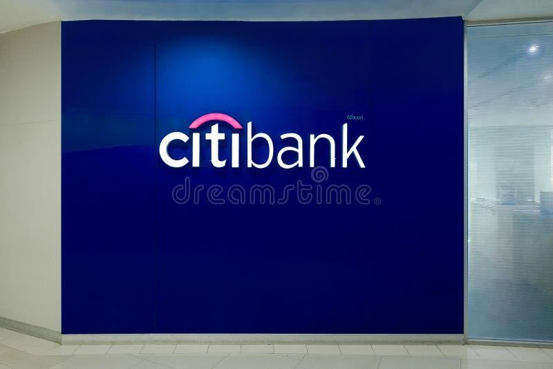 花旗银行标志安装了室内 库存图片