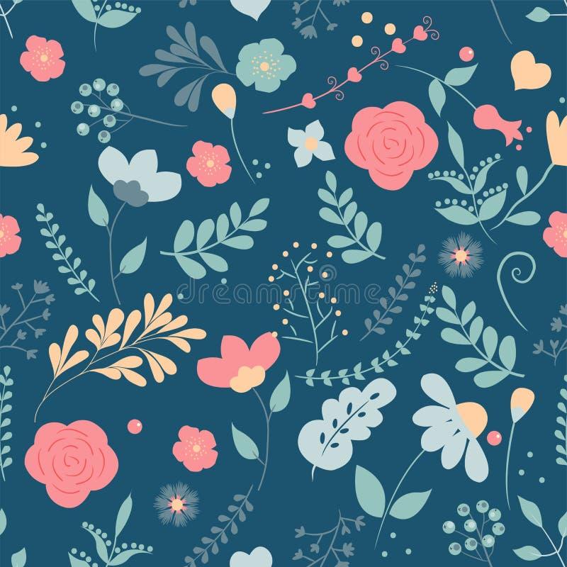 花无缝的模式 领域草本雏菊纺织品印刷品装饰深蓝背景时尚传统传染媒介例证v 向量例证
