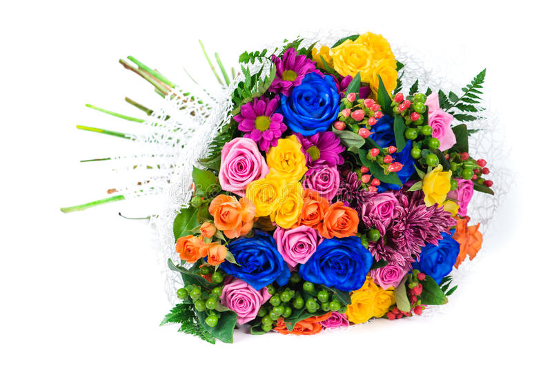 花昂贵的花束与在白色ba隔绝的蓝色玫瑰的 免版税库存照片