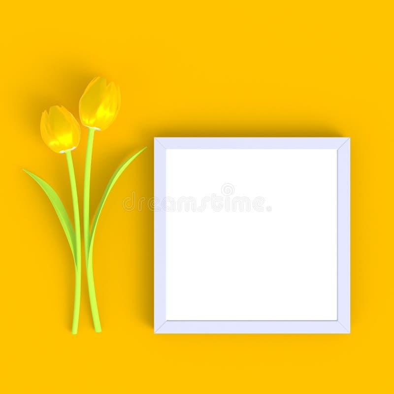 花有空白的白色相框摘要最小的黄色背景,自然概念 皇族释放例证