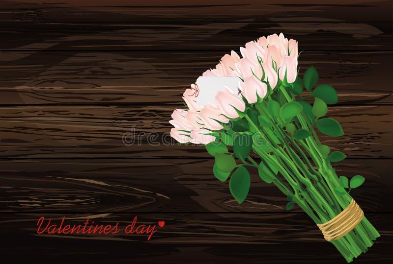花束开花粉红色 玫瑰栓了与与的信封的一条绳索 皇族释放例证