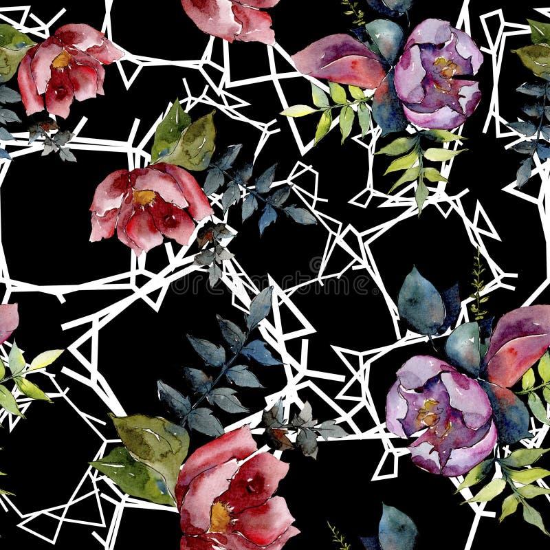 花束构成花卉植物的花 水彩背景例证集合 无缝的背景模式 库存照片