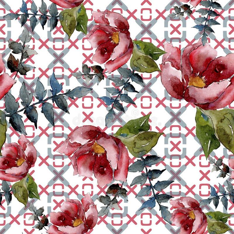 花束构成花卉植物的花 水彩背景例证集合 无缝的背景模式 免版税库存图片