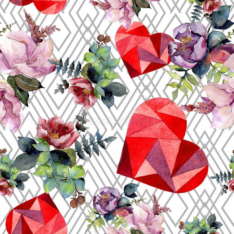 花束构成花卉植物的花 水彩背景例证集合 无缝的背景模式 免版税图库摄影