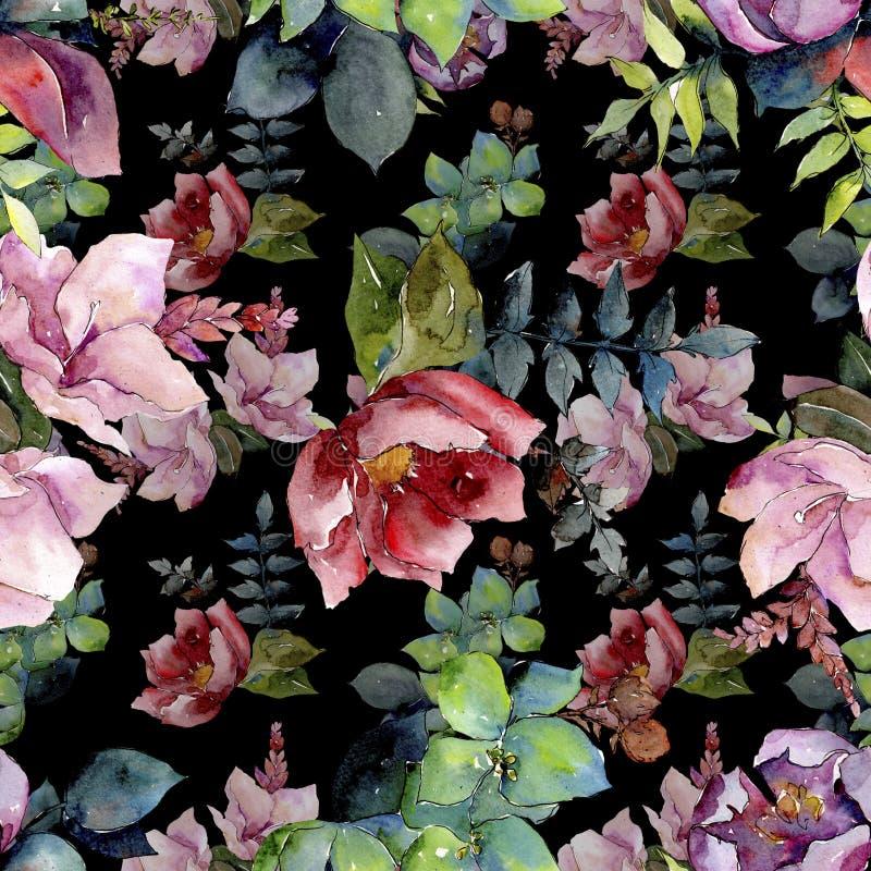 花束构成花卉植物的花 水彩背景例证集合 无缝的背景模式 图库摄影