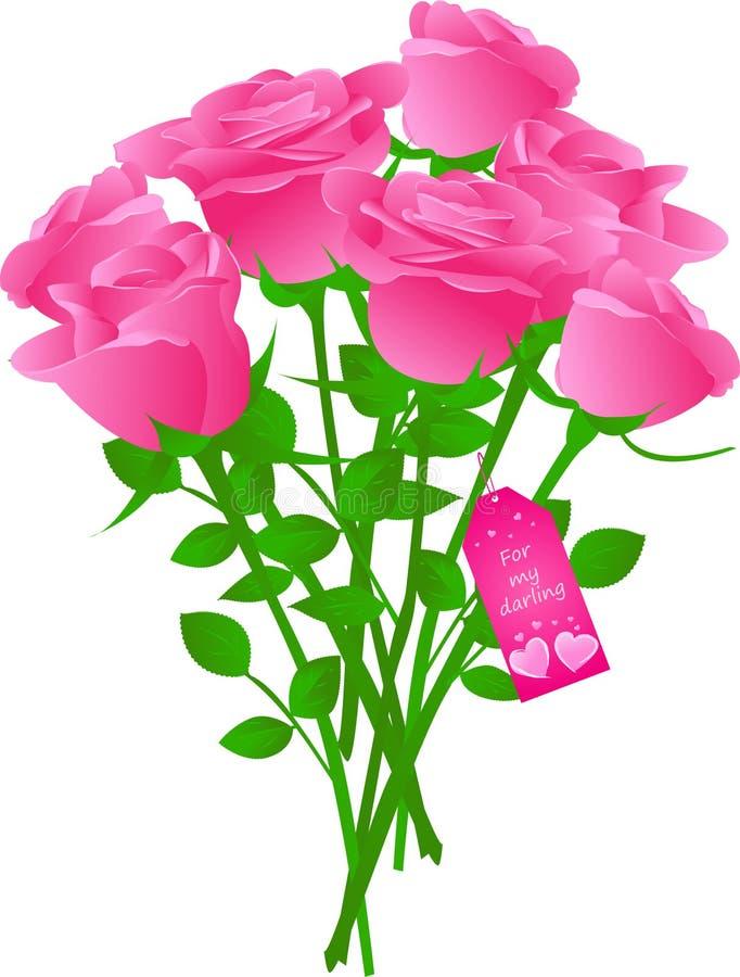 花束礼品玫瑰标签向量 向量例证