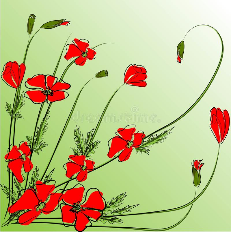 花束红色鸦片 传染媒介花束被做仿照手图画样式 鸦片,芽,草-夏天设计的,阵亡将士纪念日用途 向量例证