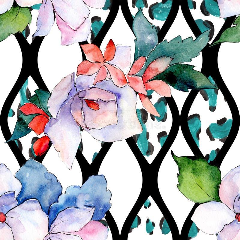 花束花卉植物的花 狂放的春天叶子隔绝了 水彩例证集合 无缝的背景模式 图库摄影