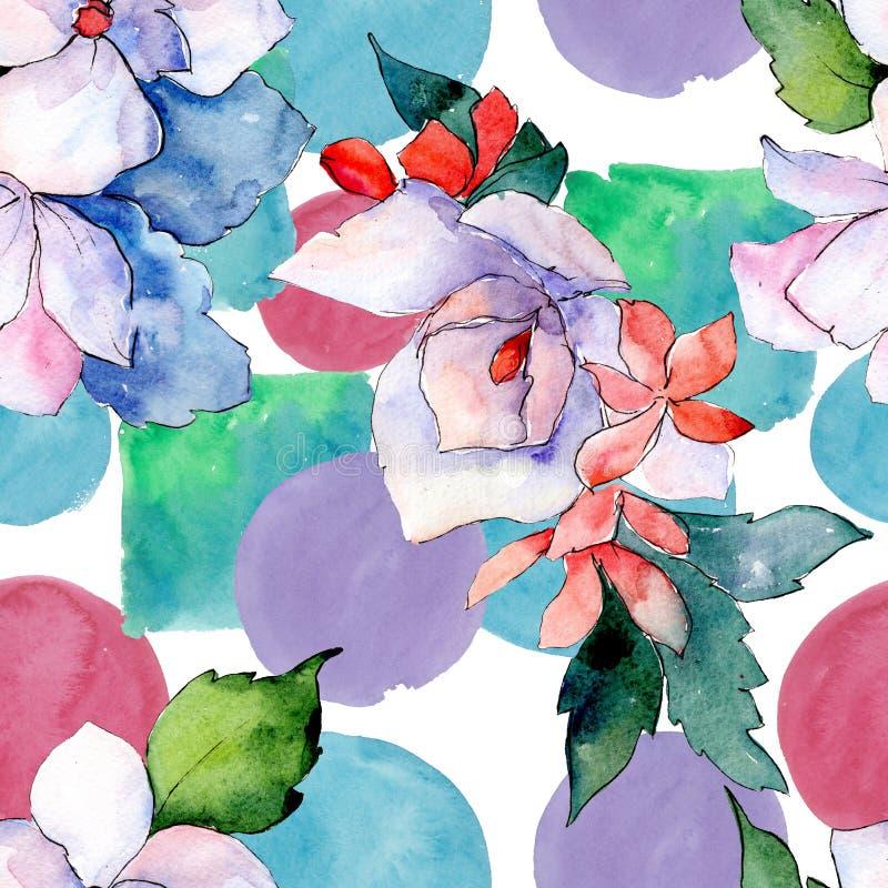 花束花卉植物的花 狂放的春天叶子隔绝了 水彩例证集合 无缝的背景模式 库存照片