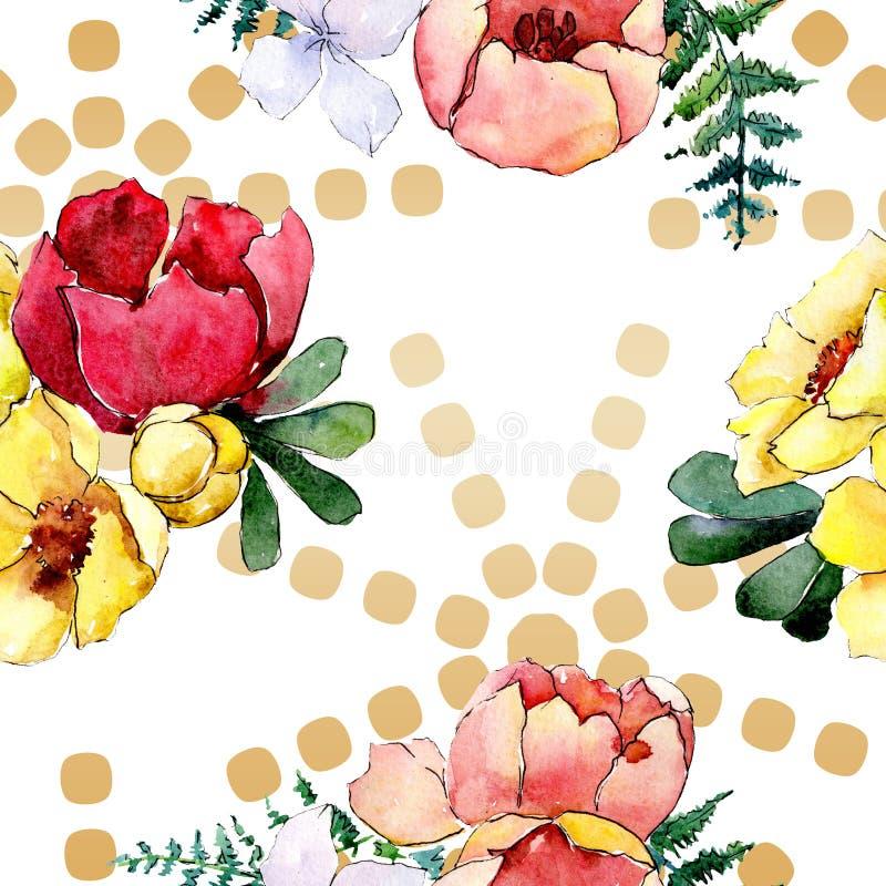 花束花卉植物的花 狂放的春天叶子隔绝了 水彩例证集合 无缝的背景模式 免版税库存图片